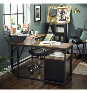 VASAGLE - Schreibtisch - 149 x 149 x 75 cm - Hellbraun und Schwarz