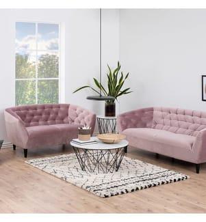 3-Sitzer Sofa Ria - Rosa und Schwarz