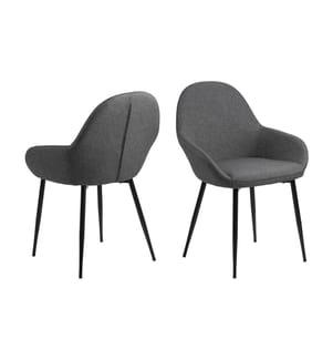 2er-Set Stühle Candis - Grau und Schwarz