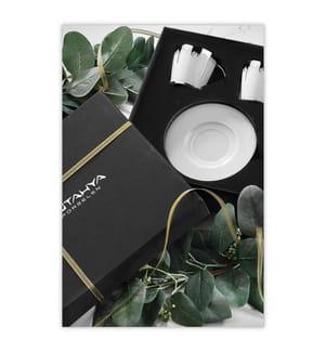 Kaffeetassen-Set (4 Stück) - Weiss, Silber