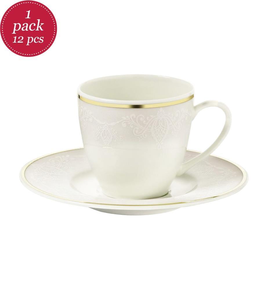 12-Teiliges Tee-Set 12 - Weiss und Gold