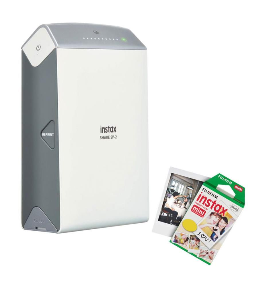 FUJIFILM - -Portabler Drucker Instax Share SP-2 Silver (WLAN, Thermodirekt, Farbe) + Fotokartusche 40 Aufnahmen