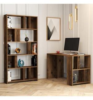 Arbeitszimmer Schreibtisch Bücherregal - Braun