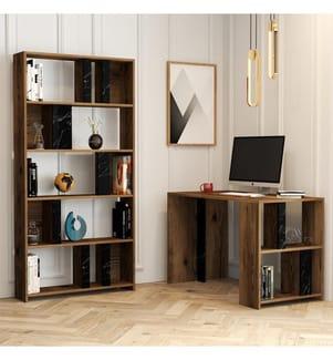 Arbeitszimmer Schreibtisch Bücherregal - Braun und Schwarz