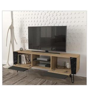 TV Stand - Hellbraun und Dunkelgrau