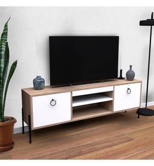TV Stand - Braun und Weiss