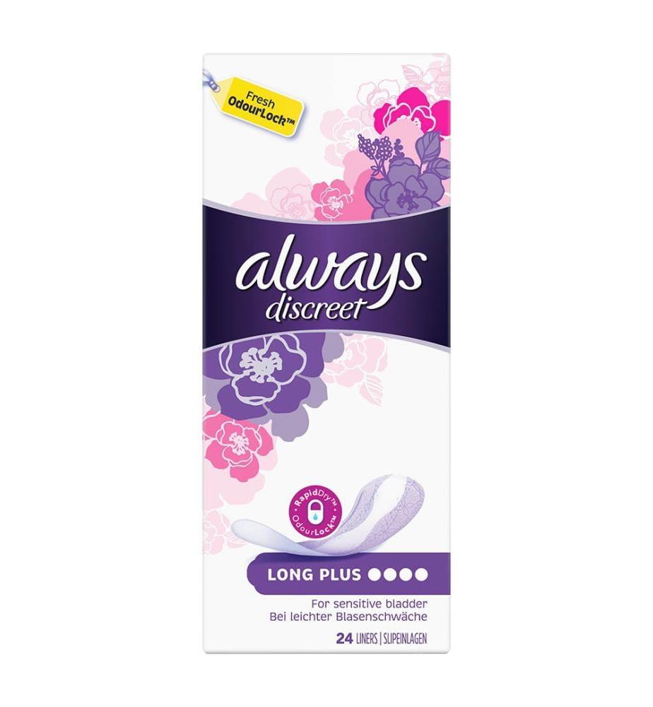 Always Discreet Inkontinenz-Slipeinlagen Long Plus 24 Stück, Bei Blasenschwäche