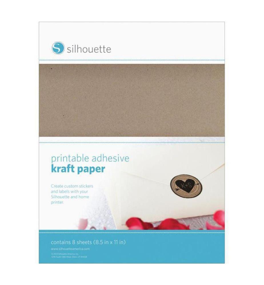 SILHOUETTE - Selbstklebendes Stickerpapier Bedruckbares Kraftpapier - 8 Blatt
