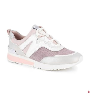 Leder-Sneakers - Hellrosa und Weiss