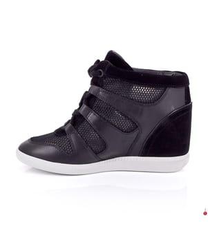 Leder-Sneakers Astrid High-Top - Schwarz