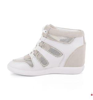 Plateau-Ledersneakers Michael Kors Astrid High - Weiss und Hellbeige