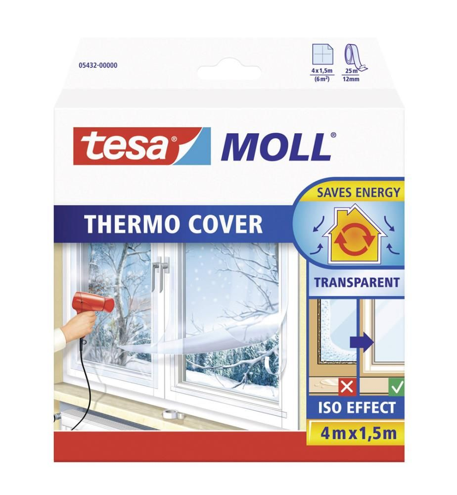 tesamoll® Fensterisolierfolie THERMO COVER, transparent, 4,0m x 1,5m