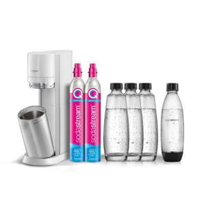 SodaStream - Family Pack DUO Weiss mit 2 x 60L CO2-Zylinder, 3 x 1L Glaskaraffen & 1 x 1L Kunststoff Fuse-Flasche