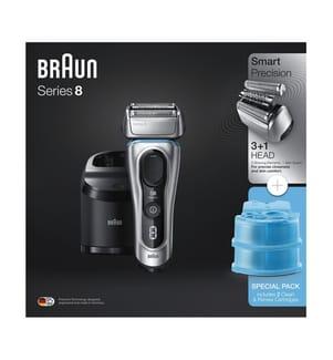 BRAUN - Series 8 8370cc + 3 Ersatzkartuschen- Silber und Schwarz