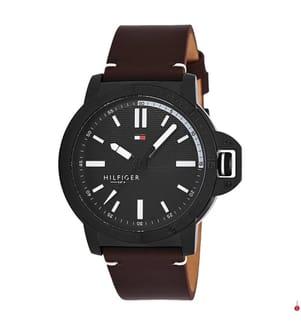 TOMMY HILFIGER - Leder-Armbanduhr Diver - Braun und Schwarz