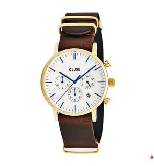 CLUSE - Leder-Armbanduhr Cluse Aravis - Braun und Gold