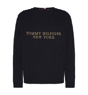 TOMMY HILFIGER - Pullover Logo - Marinblau