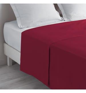 Bettlaken 2 Personen Einfarbig Lina Burgund - 240 x 300 cm
