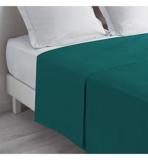 Bettlaken 2 Personen Einfarbig Lina Blau - 240 x 300 cm