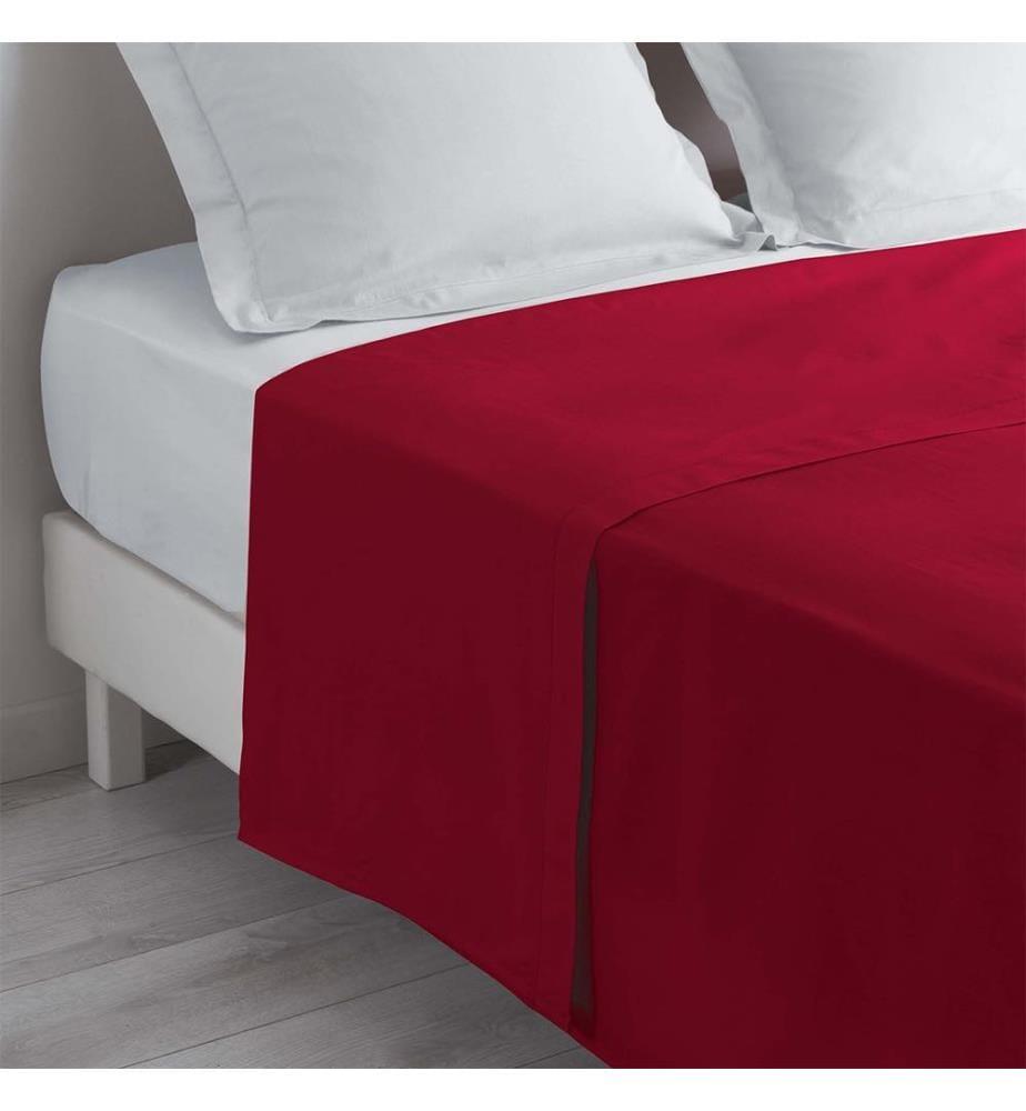 Bettlaken 1 Person Einfarbig Lina Mohnblume - 180 x 290 cm