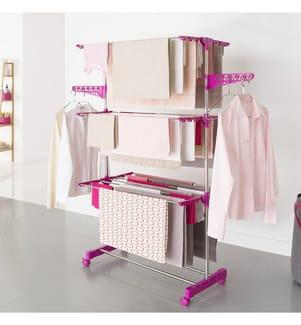 IDOMYA ESSENTIALS - Multifunktions-Wäscheständer Infinity 81/140 x 42.5/57 x 145 cm - Fuchsia