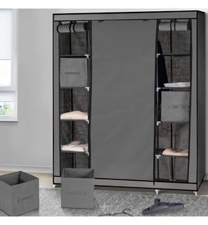 IDOMYA ESSENTIALS - Kleiderschrank + Accessoires 135 x 175 x 45 cm - Grau