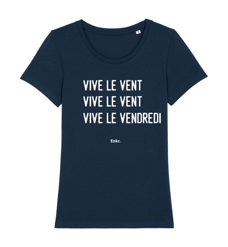 T-Shirt Vive Le Vendredi - Marinblau und Weiss
