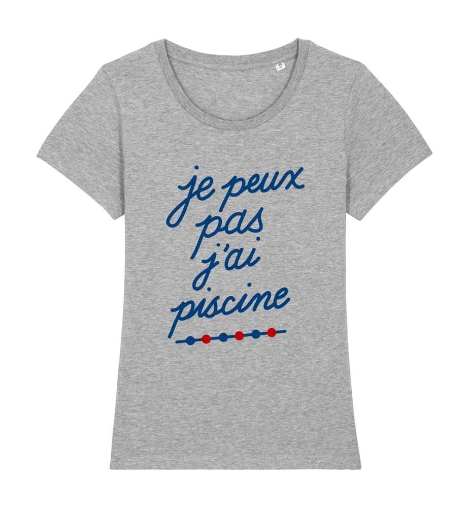 T-Shirt Je Peux Pas J'ai Piscine - Grau