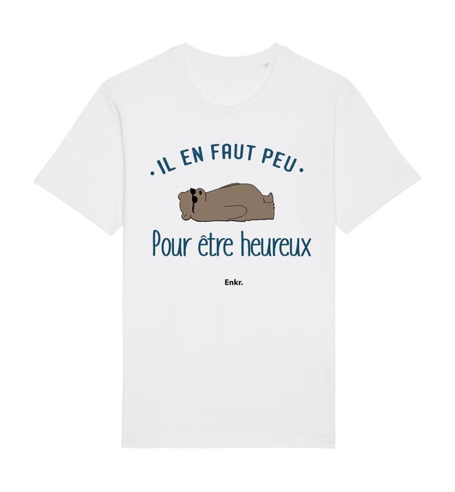 T-Shirt Il En Faut Peu Pour Être Heureux - Weiss