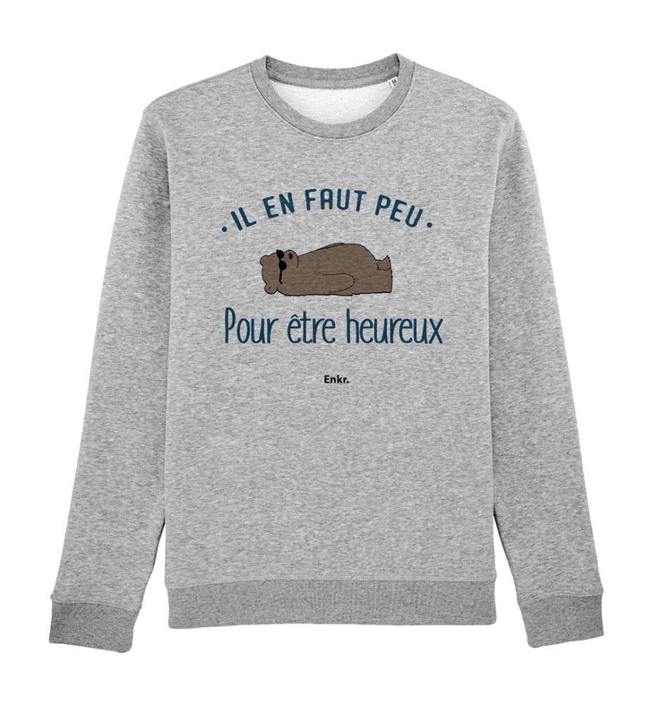 Sweatshirt Il En Faut Peu Pour Être Heureux - Grau