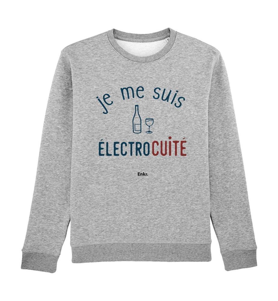 Sweatshirt Je me suis Eléctrocuité - Grau