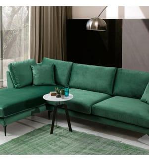 Ecksofa mit Linksseitiger Recamiere Papira - Grün und Schwarz