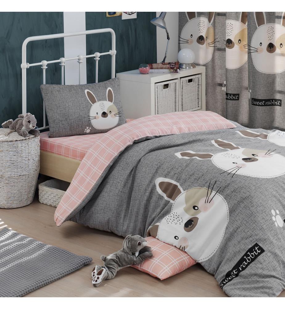 Bettbezug-Set Für Eine Person Tavsancik - Hellbraun, Grau, Rosa