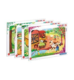 CLEMENTONI - Rahmen-Puzzle Farm  15 tlg, 4 verschiedene Motive, 16 Stück in Display 30 x 22cm (3+)