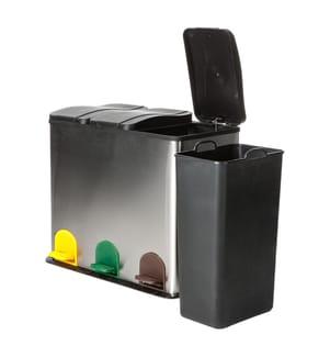 TOMASUCCI - Abfalleimer Recycle - Silber und Schwarz