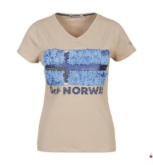 T-Shirt - Taupe und Blau