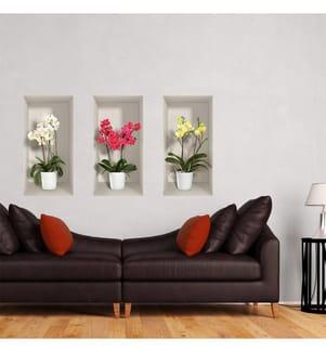 3-teiliges 3D-Stickerset Orchids - 60 x 30 cm