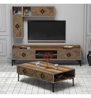 Wohnzimmermöbel-Set Hommy Craft - Walnuss Blau