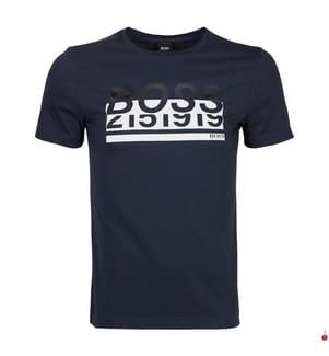 T-Shirt - Marinblau und Weiss