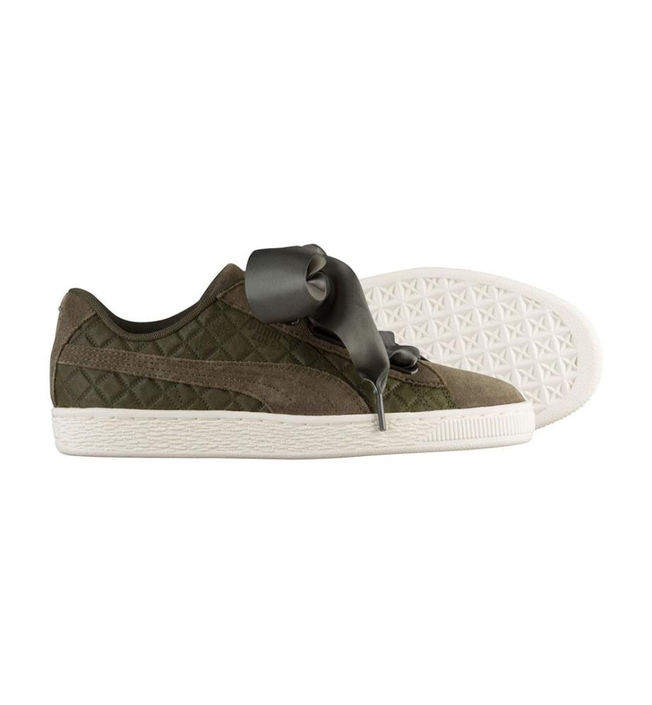PUMA - Sneakers Suede Heart Quilted Khaki
