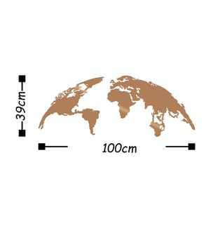 Wanddekoration World Map Small - 100 x 39 cm