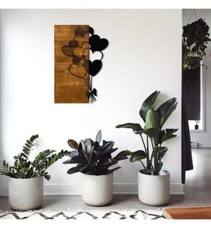 Wanddekoration aus Holz (39 x 58 cm) - Walnuss, Schwarz