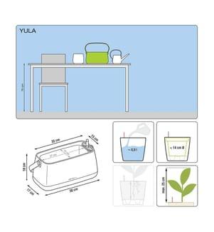 2er-Set Blumenkästen mit Integriertem Bewässerungssystem Yula - Weiss und Grau