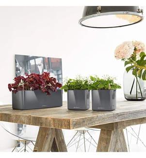 4er-Set Blumenkästen mit Integriertem Bewässerungssystem Cube Glossy Triple 16 - Anthrazit