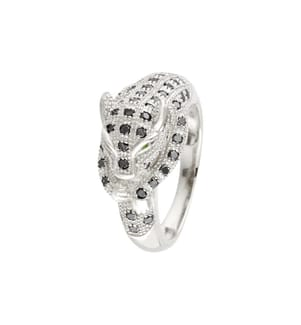 Ring Panthère Noire - Silber und Schwarz