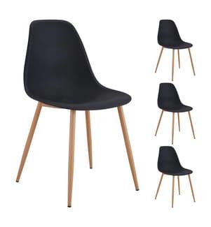 4er-Set Stühle - Schwarz und Hellbraun