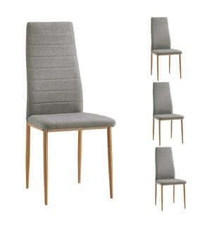 4er-Set Stühle - Hellgrau und Braun