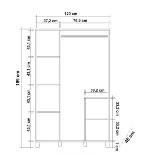 Kleiderschrank Hedera 2 - 120 x 48 x 189 cm - Braun