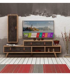 TV-Möbel Joseph - Hellbraun und Schwarz