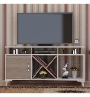 TV-Möbel Ay - Weiss und Hellbeige